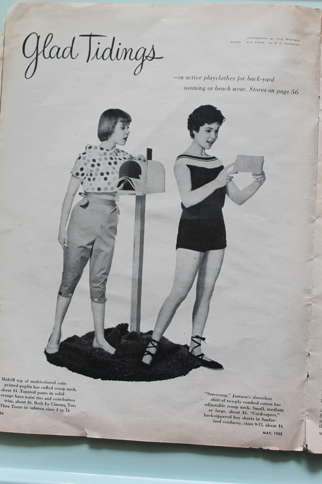 1950s teen fashion ad capri pants and  playsuit