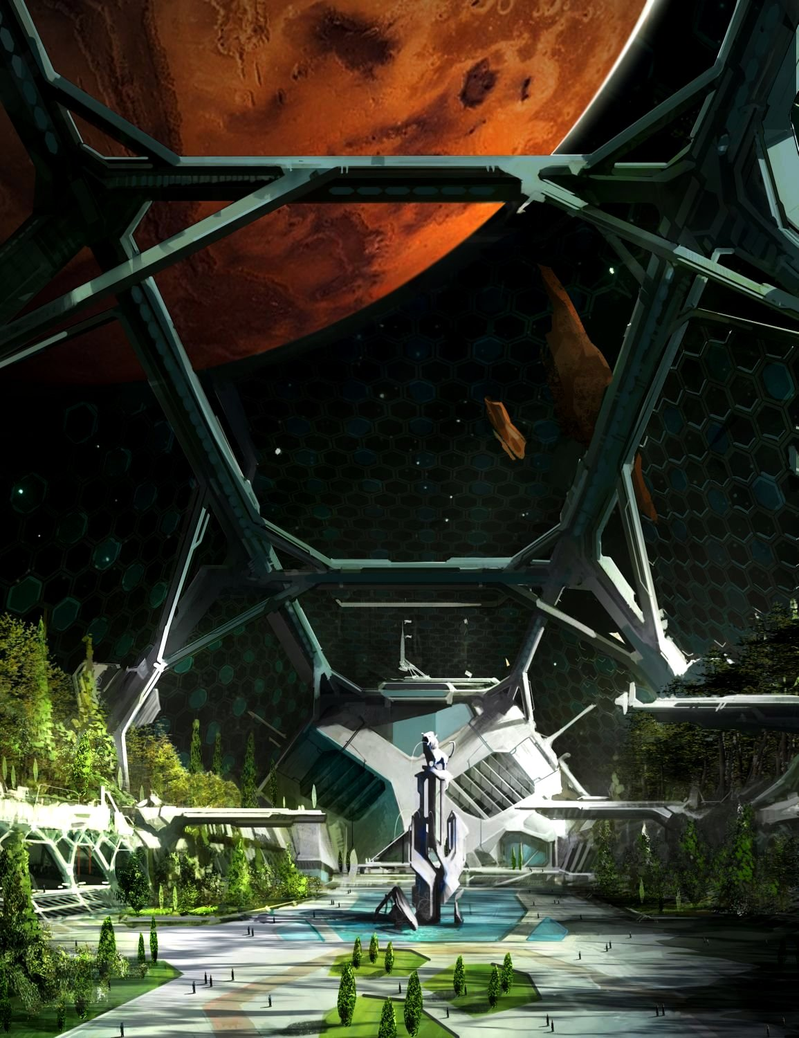 Domed park on a space station orbiting Mars by West Studio