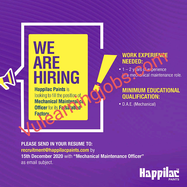 Happilac Paints Jobs 2020 For Mechanical Maintenance Officer  Latest