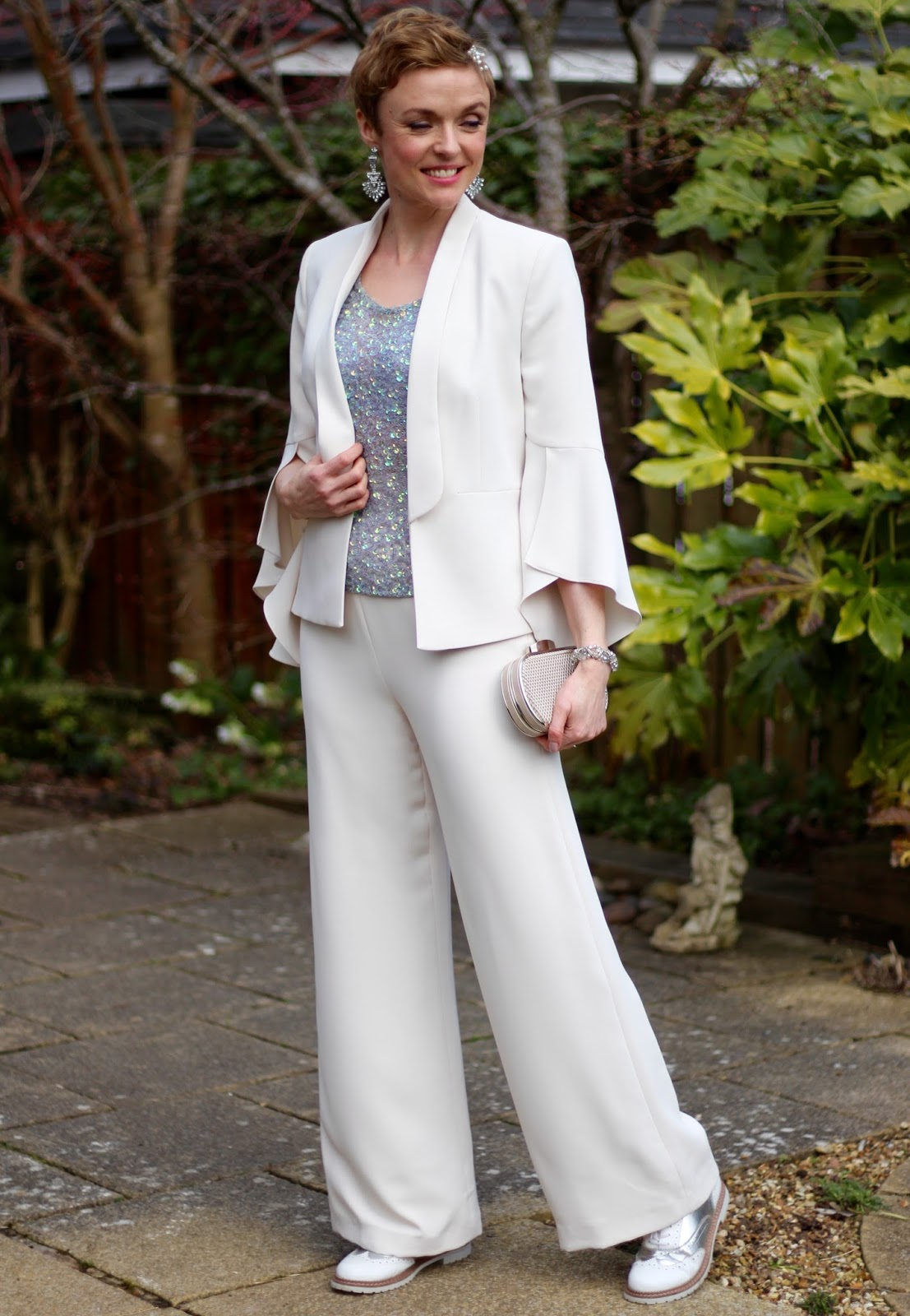 Cream suit and Sparkles | Wedding Bride Trouser Outfit, over 40