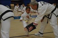 A martial arts toddler girl kicking a target with a black belt