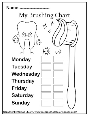 free Dental care cute kawaii coloring pages for kids, Dental care health and brushing chart for preschoolers