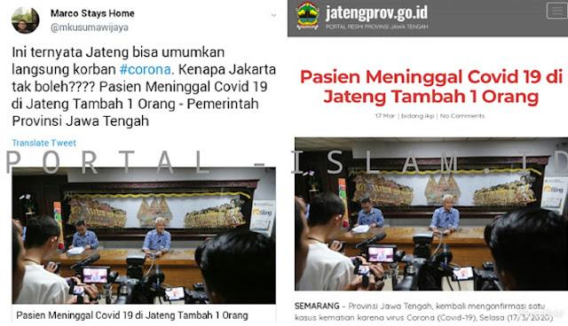 Website Resmi Pemprov Jateng Unumkan Pasien Covid-19 Meninggal, Marco Kusumawijay: Kenapa Jakarta Tidak Boleh?