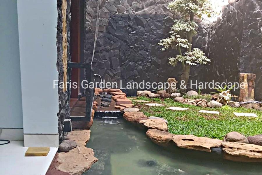 Contoh Model Desain Kolam Air Terjun Relief Dekorasi Tebing