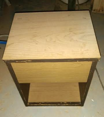 before picture of a little nightstand that got a rustic farmhouse makeover