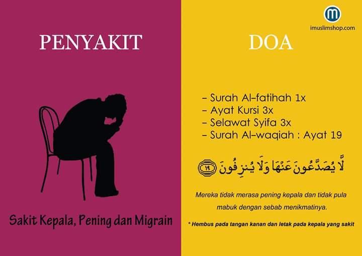 Doa mengobati sakit Kepala, Pening dan Migrain - Doa ...