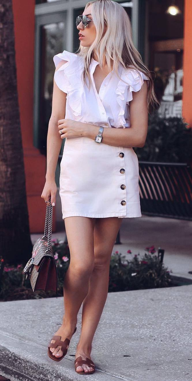 summer fashion trends / white ruffle blouse + blush skirt + bag + slides
