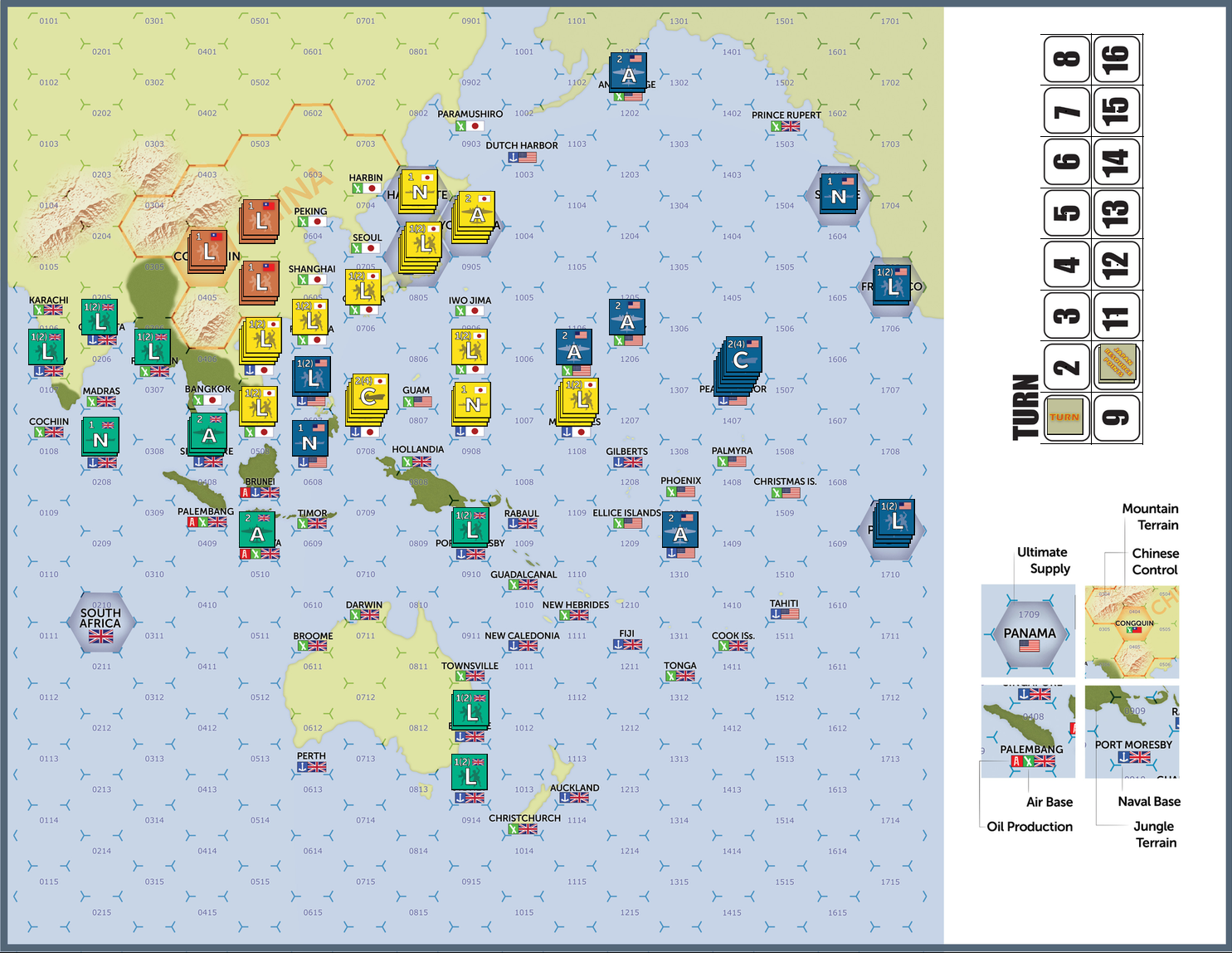 War in the Pacific Set Up Positions | White Dog Games
