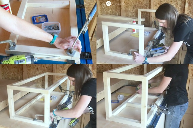 using a Kreg Klamp track to build a modern bench with pocket holes