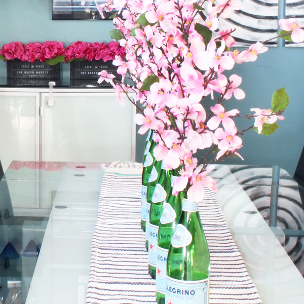 San Pellegrino Bottles Upcycled as Flower Vases