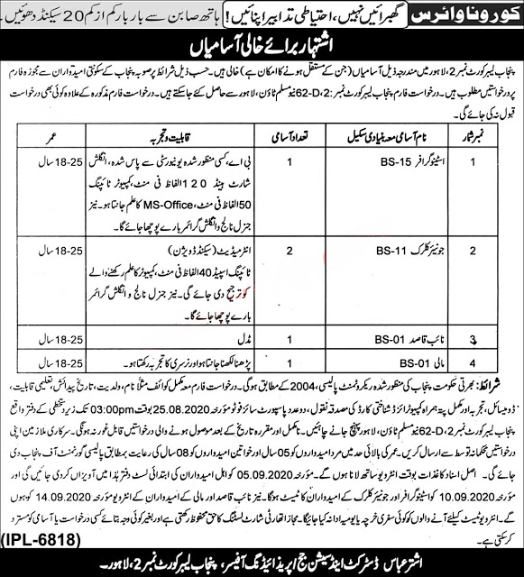 Punjab Labour Court Jobs 2020