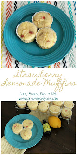 Strawberry Lemonade Muffins - light, fluffy and full of flavor, great way to bring sunshine to your breakfast or brunch #NielsenMasseyInspires #sponsored