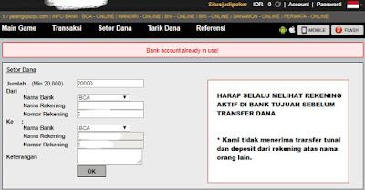 "Solusi ""Bank Account Allready Use"" di Situs Judi Poker"