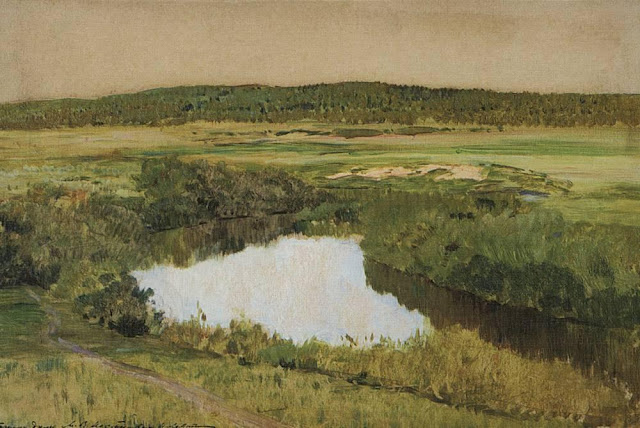 Исаак Ильич Левитан - К вечеру. Река Истра. 1885