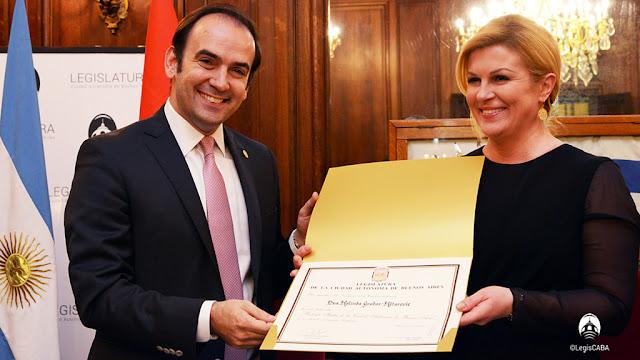 Kolinda Grabar Kitarovic, presidenta de Croacia, fue declarada visitante ilustre de la Ciudad por la Legislatura porteña