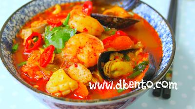 Resep dan cara membuat Jjampong, mie seafood kuah pedas korea