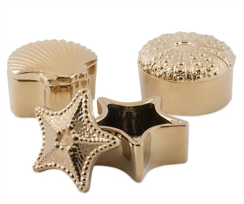 Ceramic Shell and Sea Life Boxes Gold