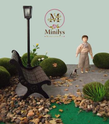 """minilys miniatures"" ""garden"" ""doll boy"" 1:12 farola"