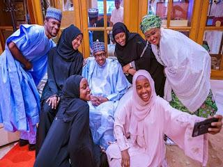 President Buhari observes Eid prayers with family members at Aso Rock. PHOTOS