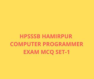 Most Important HPSSSB Hamirpur Computer Operator Exam MCQ SET-1