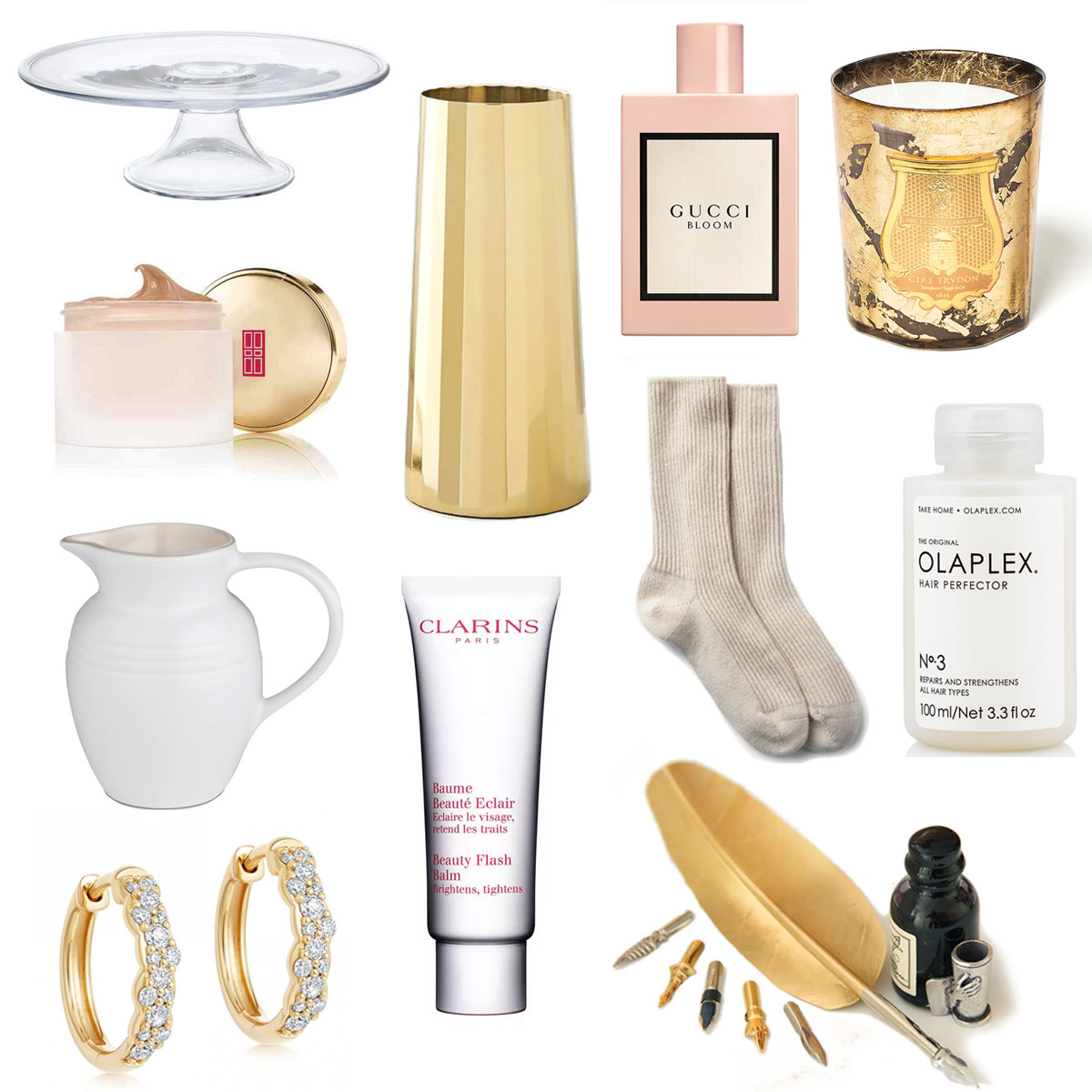 Christmas Gift Guide featuring Dartington Crystal, West Elm, Gucci, Cire Trudon, Elizabeth Arden, The White Company, Olaplex, Le Creuset, Clarins, Astley Clarke and Pen Heaven - luxury lifestyle blog