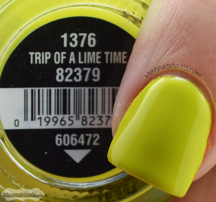China Glaze Road Trip Trip of a Lime Time, a lime green creme nail polish
