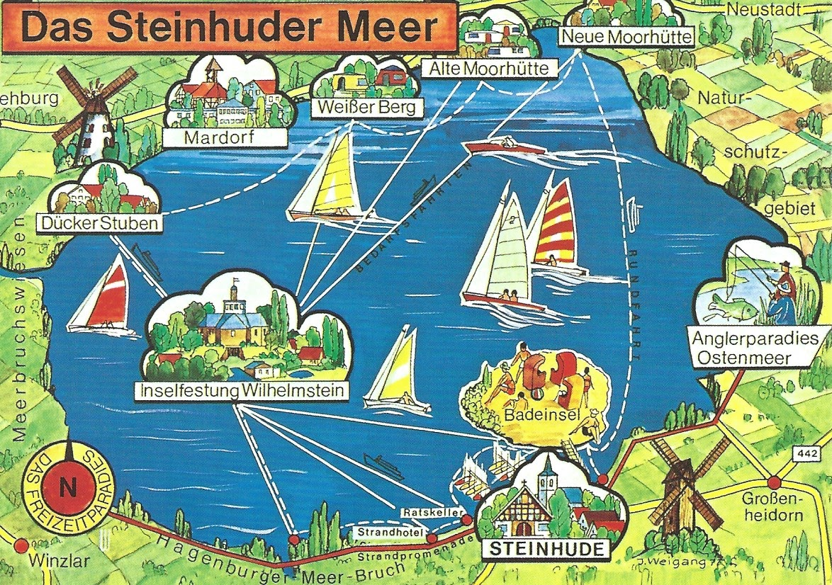 MY POSTCARDPAGE GERMANY Map Lake Steinhude Nature Park - Germany map cartoon