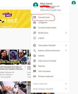 masuk ke halaman utama channel youtube anda