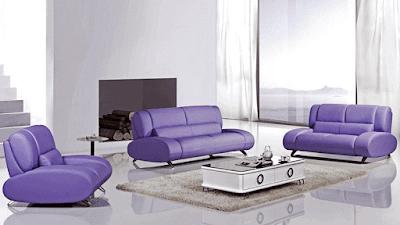 Rita Purple Leather Modern Sofa Furniture