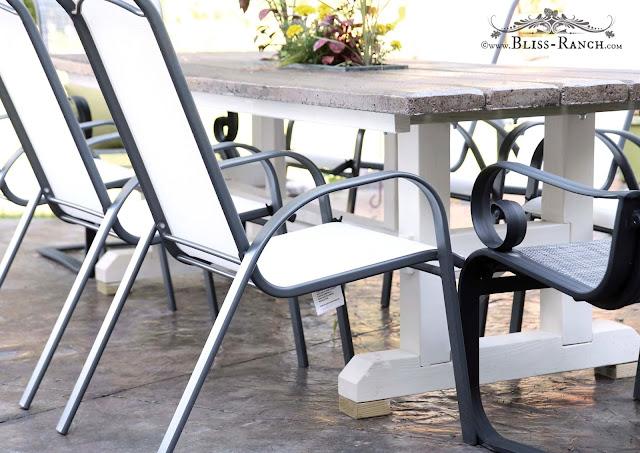 Concrete Planked Top DIY Patio Farmhouse Table Bliss-Ranch.com