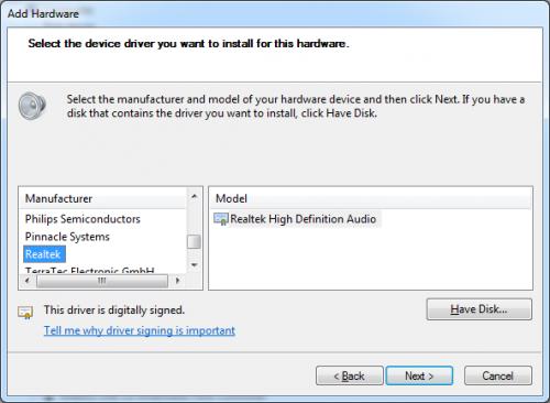 Add Realtek Sound Hardware