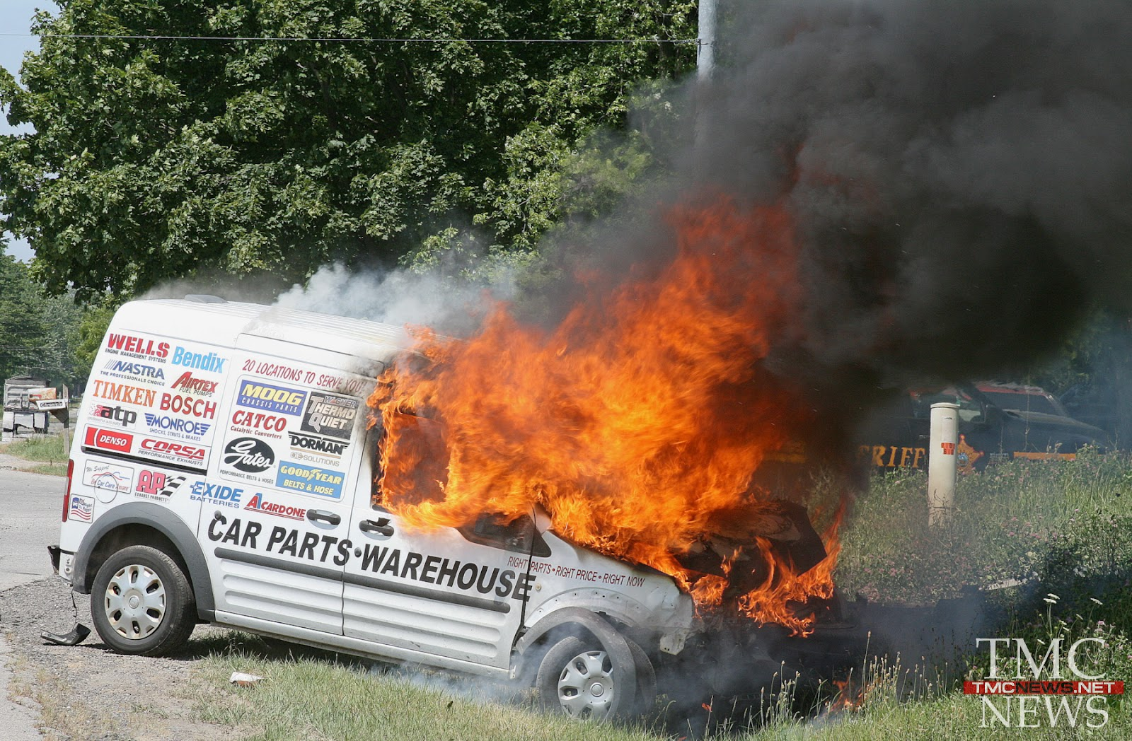 TMCNEWS NET: AUTO PARTS VAN CATCHES FIRE AFTER CRASH ON RT 113
