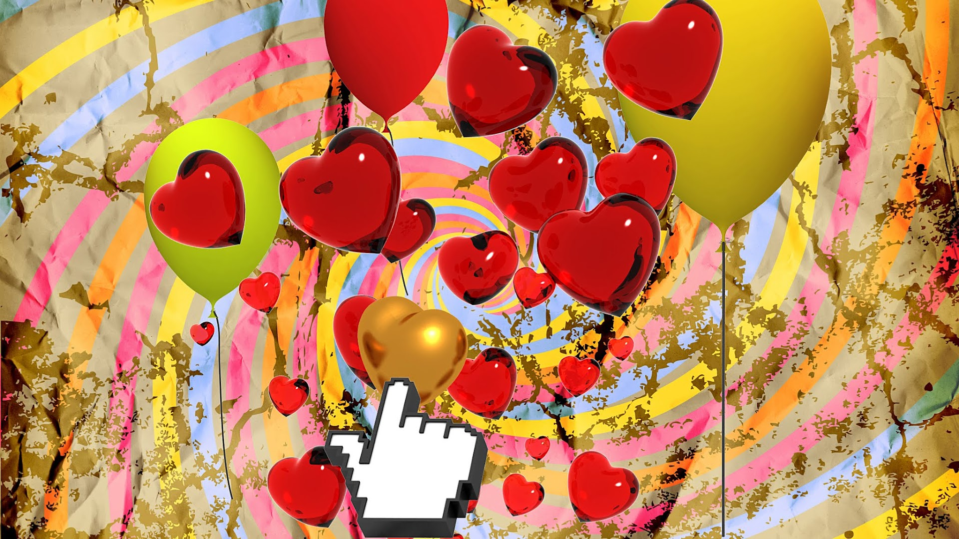 Hearts and Balloons Grunge Background