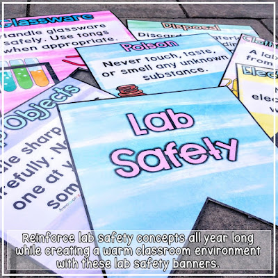 Remind students of lab safety and the scientific method using classroom decor in the science room.