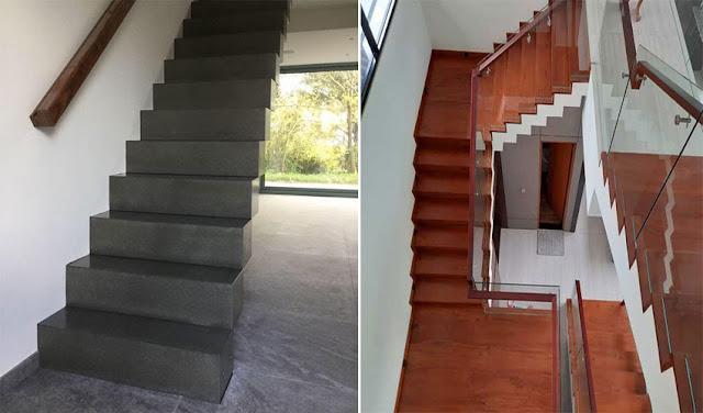 Desain tangga beton dan tangga kayu