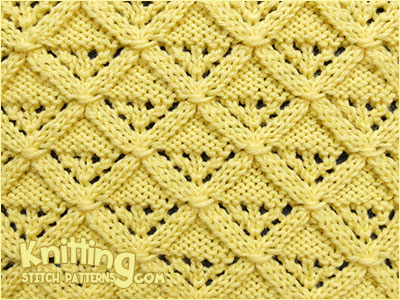 Diamond Lattice - Lace knit stitch pattern. Skill level: Experienced