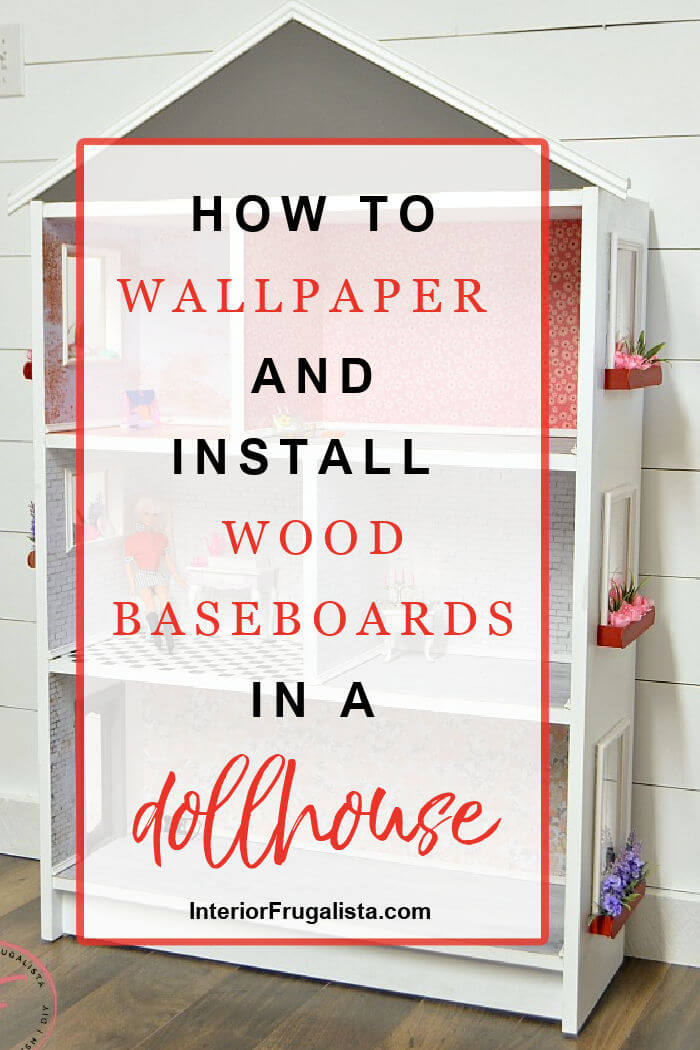 A repurposed IKEA Billy bookcase dollhouse with real wood baseboard trim and decoupage wall coverings in faux brick, plaster, and floral wallpapers.  #dollhouseminiatures #dollhousediyideas