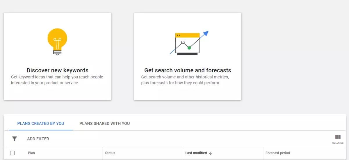 google keyword planner user interface
