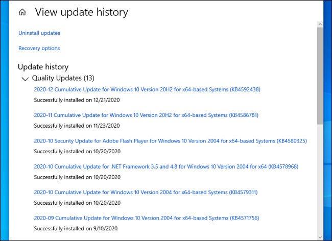 قائمة بتحديثات Windows 10 المثبتة في الإعدادات.