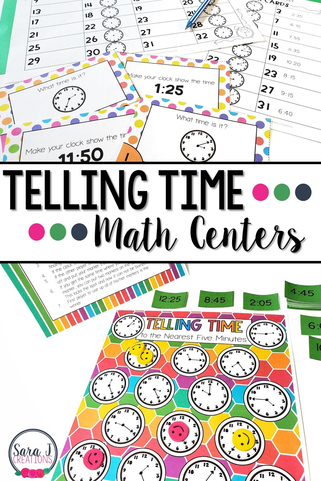Telling time to the five minutes for kids. Eight fun and engaging centers that make practicing telling time more like a game and less like work. #secondgrade #mathcenters #tellingtime