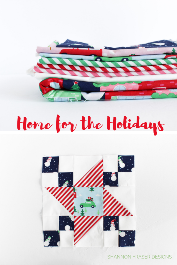 Home for the holidays fabrics and Irish Vortex quilt block by Shannon Fraser Designs