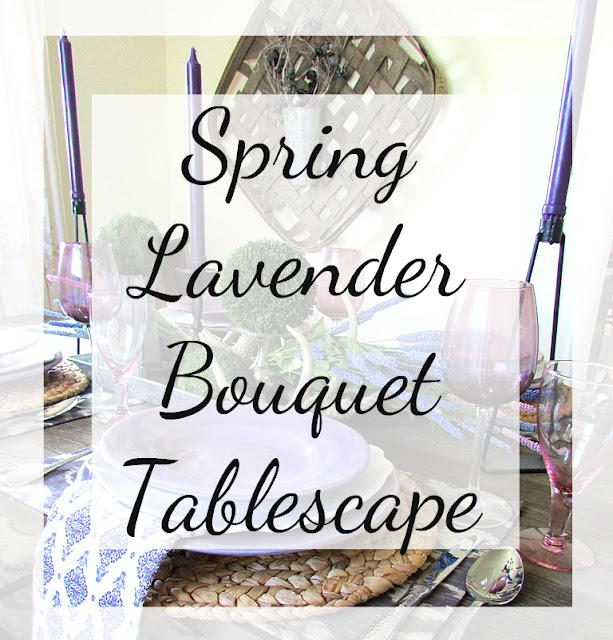 Spring table setting using Lavender flowers and purple & white colored dishes