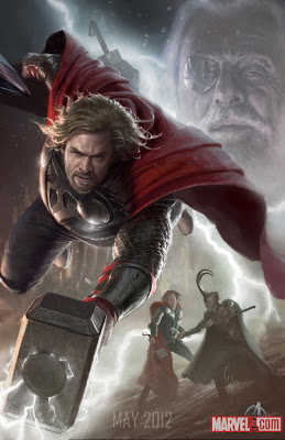 San Diego Comic-Con 2011 The Avengers Concept Art Avengers Assembled Character Movie Posters Banner - Chris Hemsworth as Thor
