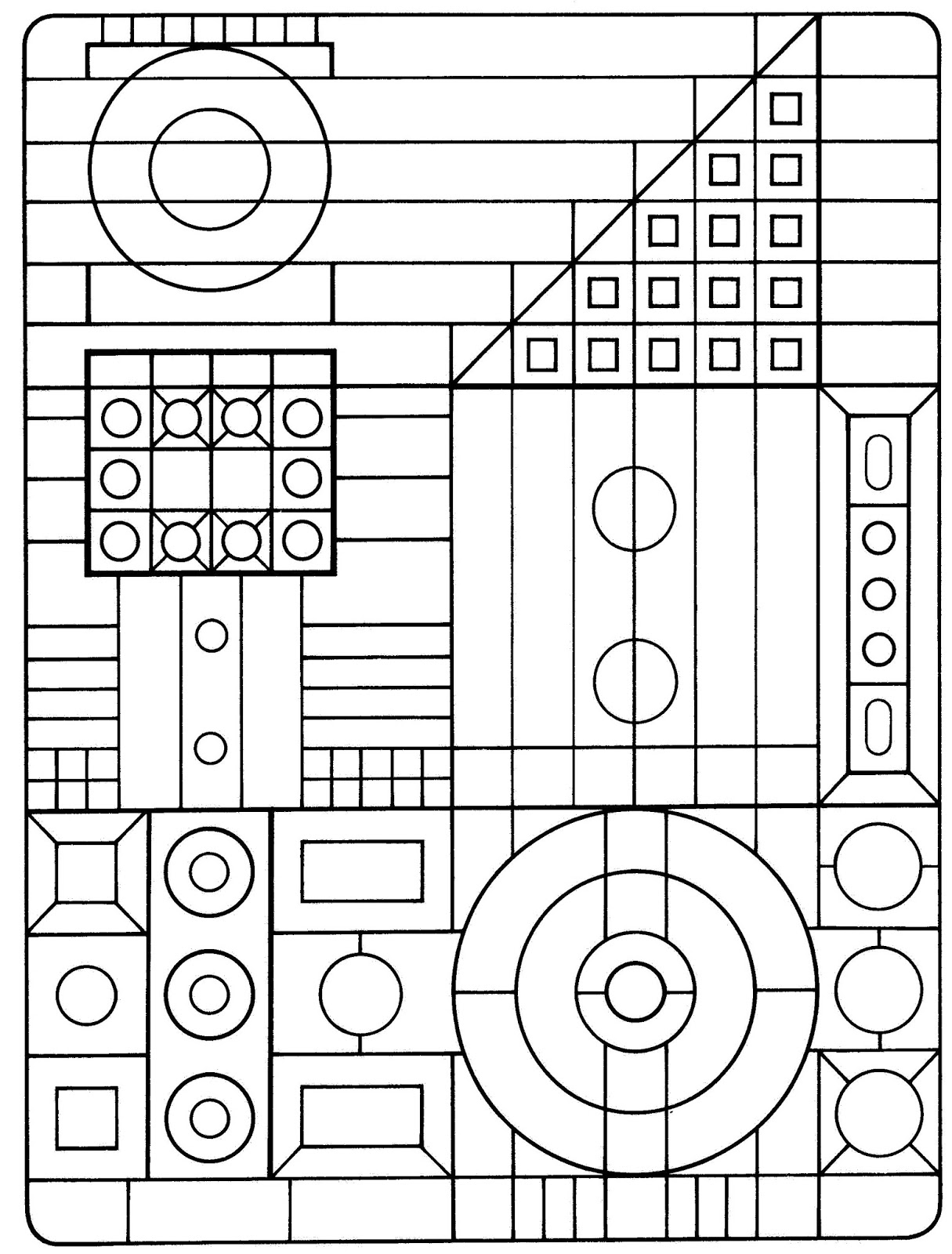 Basic shapes coloring pages ~ 50 Trippy Coloring Pages