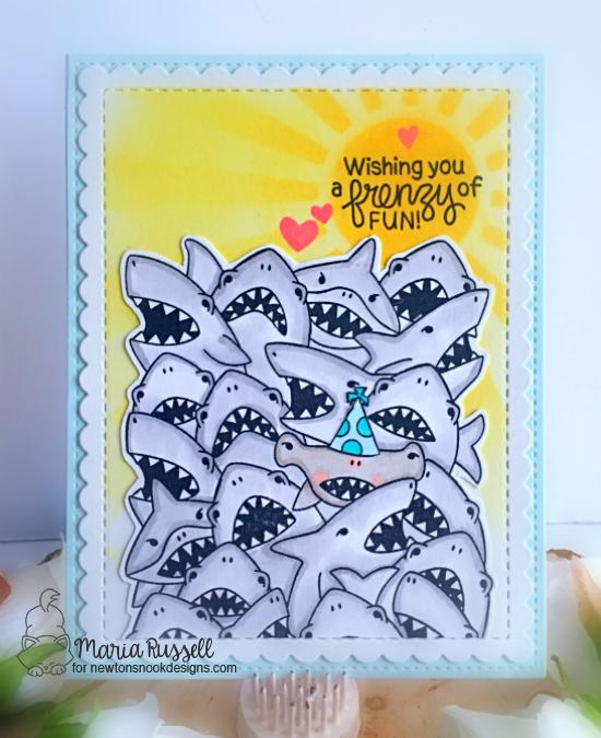 Crowd of Sharks card by Maria Russell | Shark Frenzy Stamp Set by Newton's Nook Designs #newtonsnook #handmade