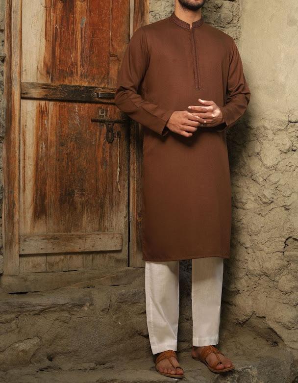 J.Junaid jamshed brown kurta