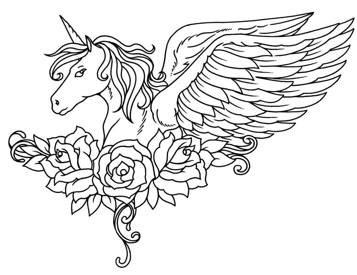 Dibujos De Unicornio Alado Con Flores Para Colorear Pintar E
