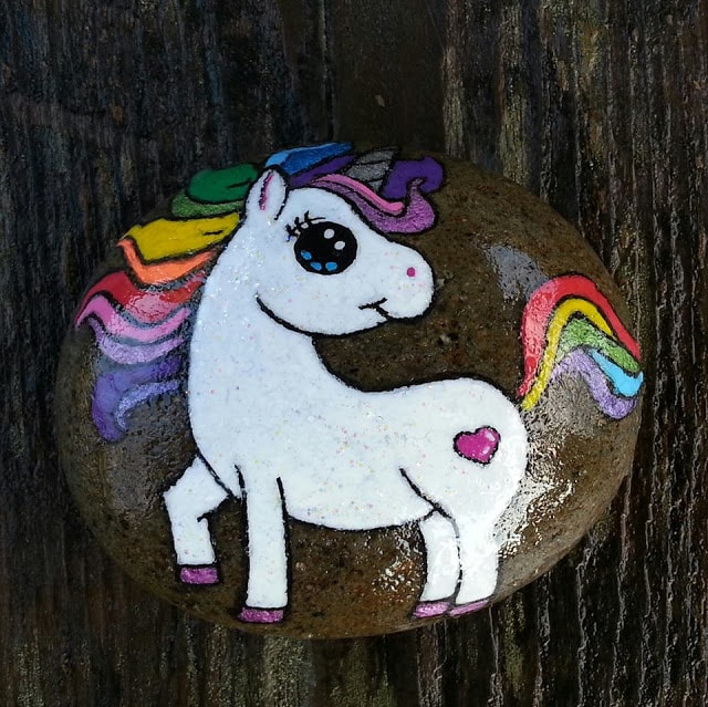rock painting ideas - unicorns and magical creatures