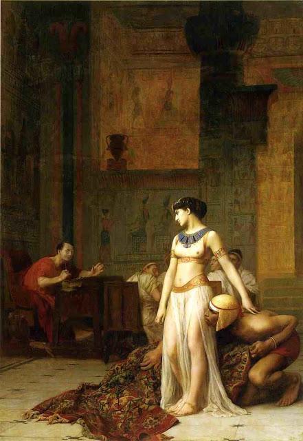 Η Κλεοπάτρα στην πρώτη της συνάντηση με τον Καίσαρα, πίνακας του Ζαν Λεόν Ζερόμ (1866).