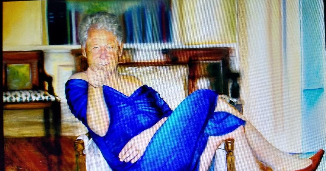 Bill jn Drag: Jeffrey Epstein had a painting of Bill Clinton wearing a blue DRESS and red heels and lounging in the Oval Office